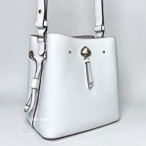 Kate Spade Marti Small Leather Bucket Bag Shoulder Bag in White Dove